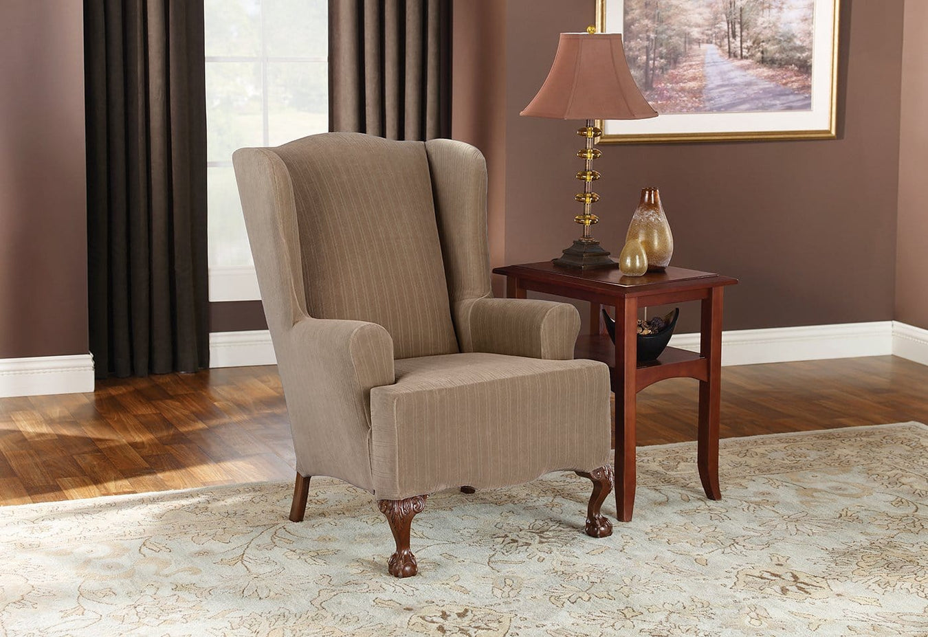 Enjoyable Stretch Pinstripe One Piece Wing Chair Slipcover T Cushion Gmtry Best Dining Table And Chair Ideas Images Gmtryco