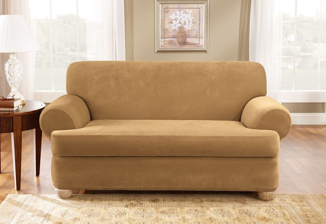Stretch Pique Two Piece Loveseat Slipcover