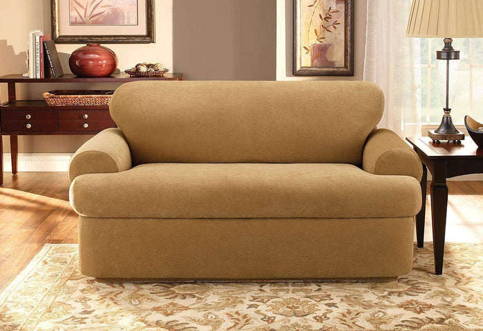 NEW Sure Fit Chocolate brown Pique Sofa scatterback t cushion slipcover waffle