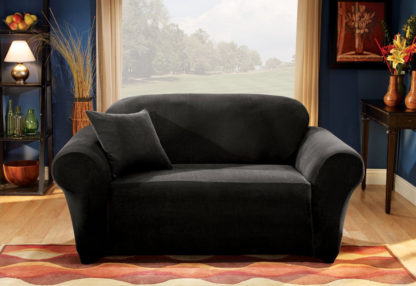 Stretch Pique One Piece Loveseat Slipcover