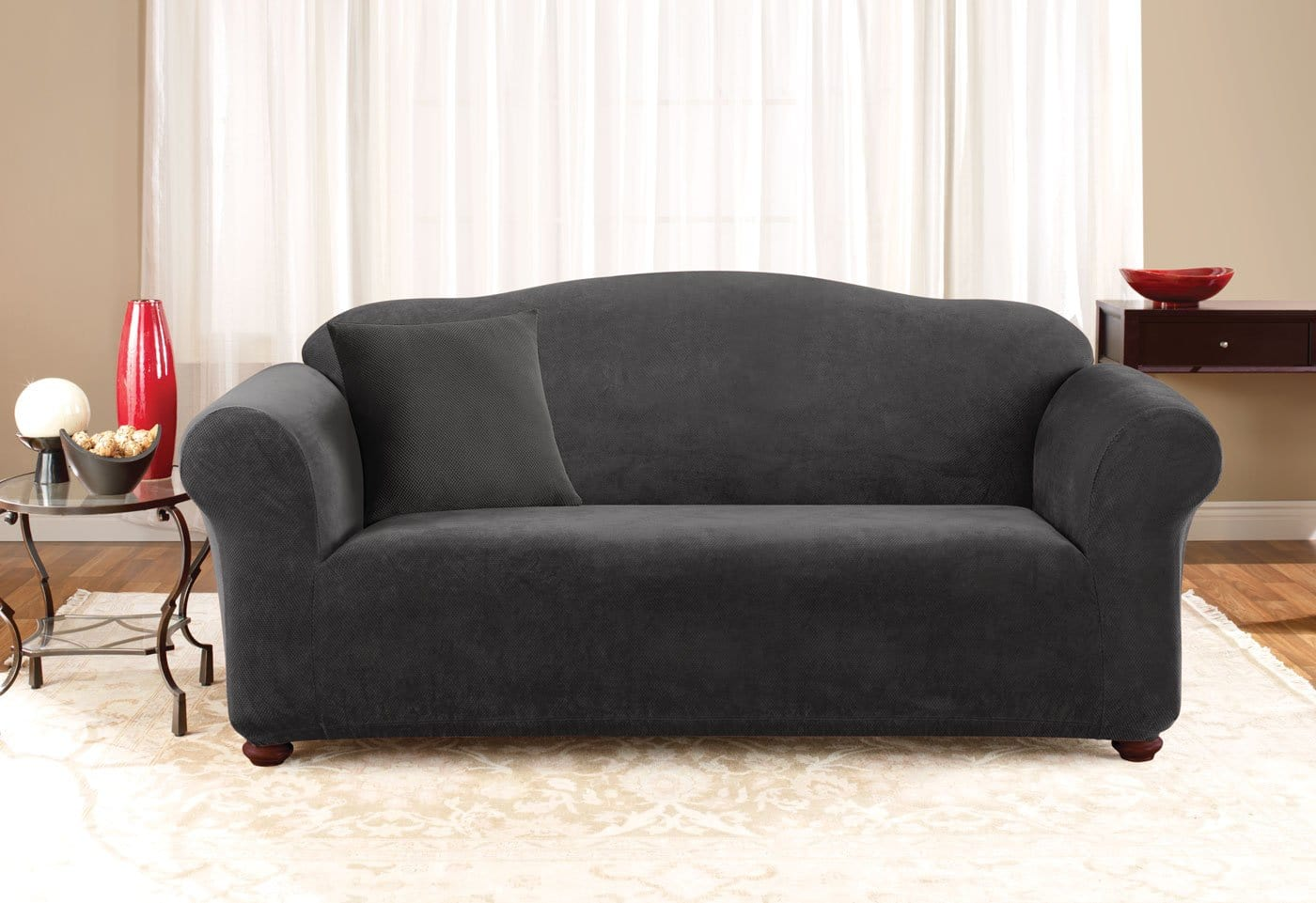 Stretch Pique One Piece Sofa Slipcover