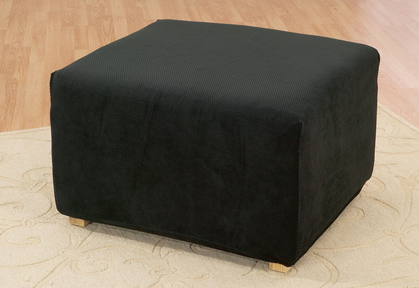 Stretch Pique Oversized One Piece Ottoman Slipcover
