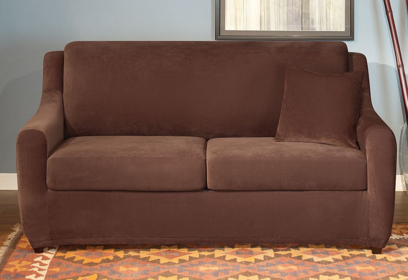 ... Stretch Pique Three Piece Queen Size Sleeper Sofa Slipcover