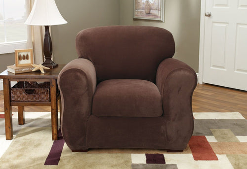 Stretch Pique Three Piece With Back Cushion Chair Slipcover