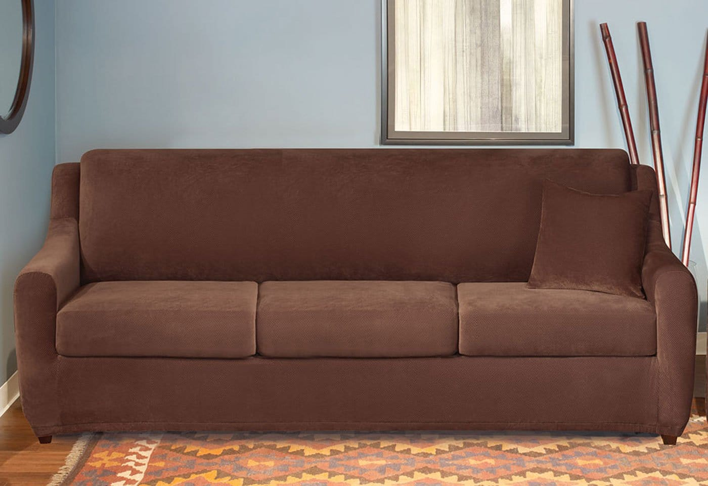 ... Stretch Pique Four Piece 3 Seat Sleeper Sofa Slipcover ...