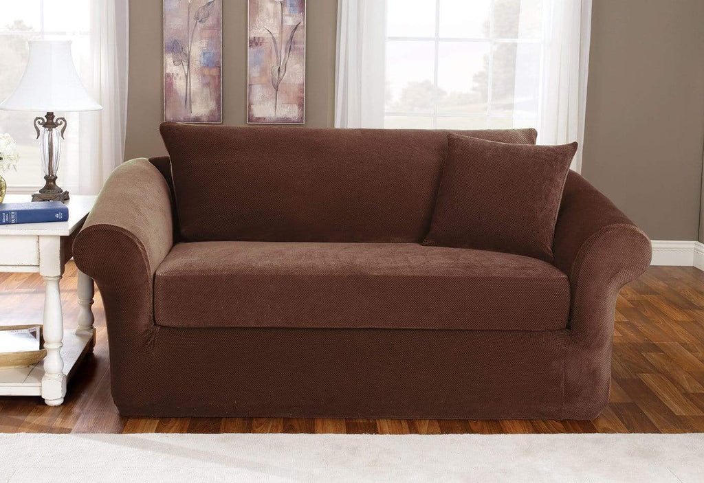 Stretch Pique Three Piece With Back Cushion Sofa Slipcover ...