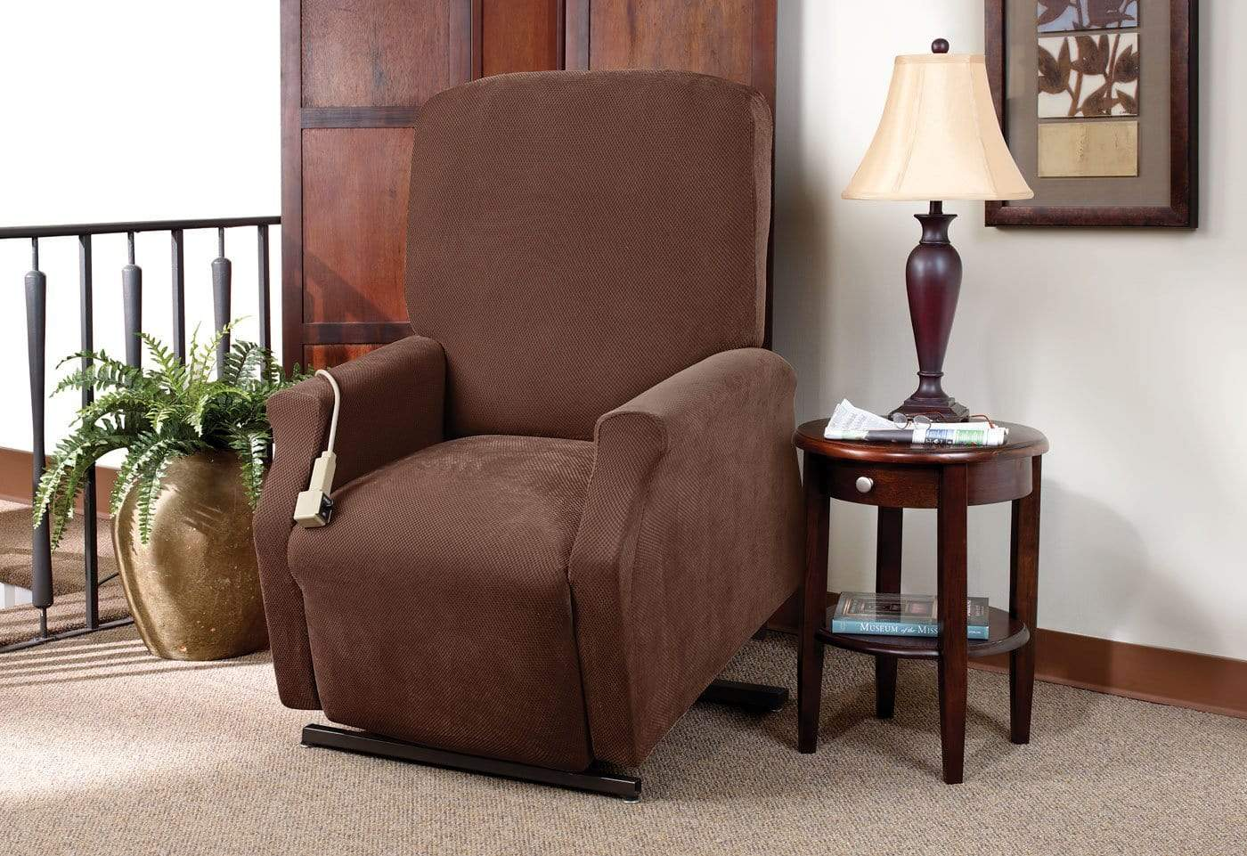 Stretch Piqué One Piece Medium Lift Recliner Slipcover - Final Sale - Medium Lift Recliner / Chocolate