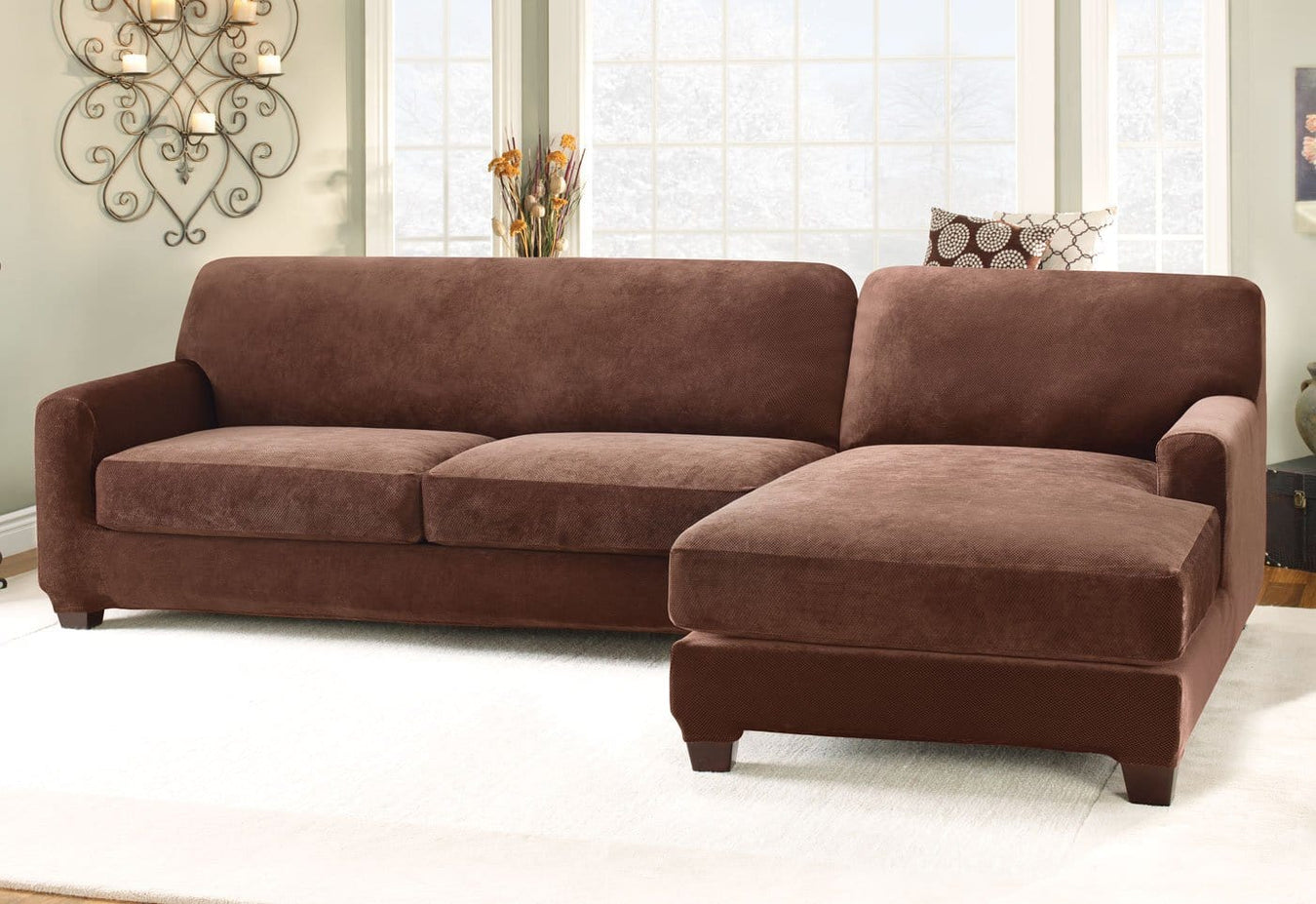 Stretch Pique Five Piece Sectional Slipcover   Right Chaise ...