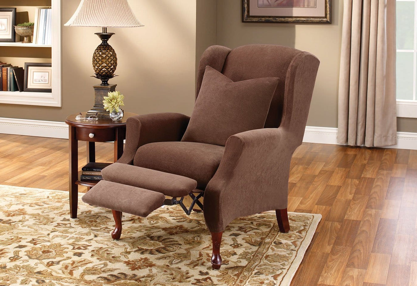 Stretch Pique Two Piece Wing Recliner Slipcover