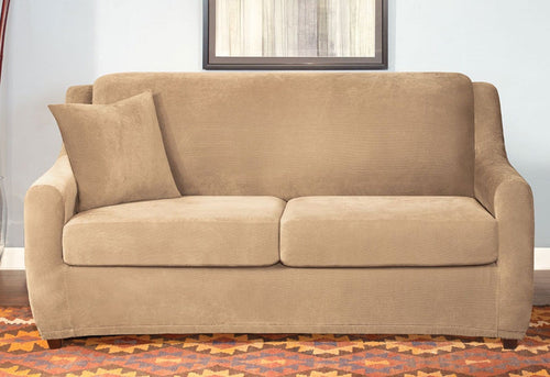 Stretch Pique Three Piece Full-Size Sleeper Sofa Slipcover