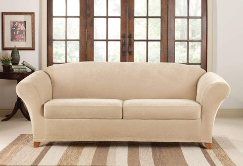 Stretch Pique Three Piece Sofa Slipcover