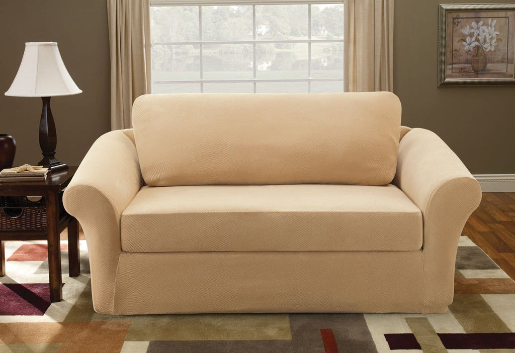 Stretch Pique Three Piece With Back Cushion Loveseat Slipcover Surefit