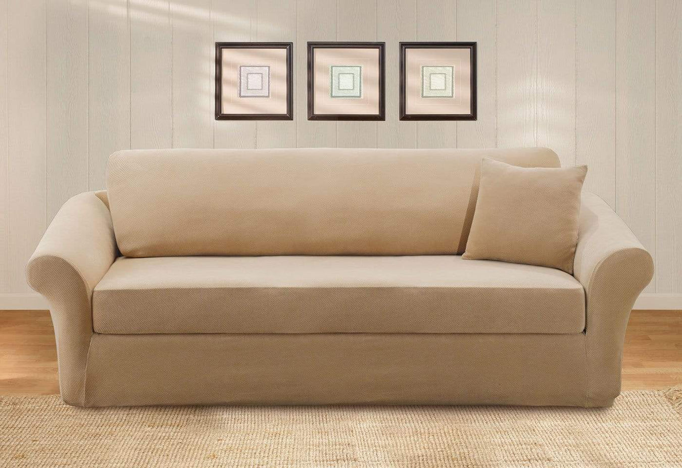 NEW Stretch Pique 3 piece scatterback Sofa Slipcover Cream t-cushion by sure fit
