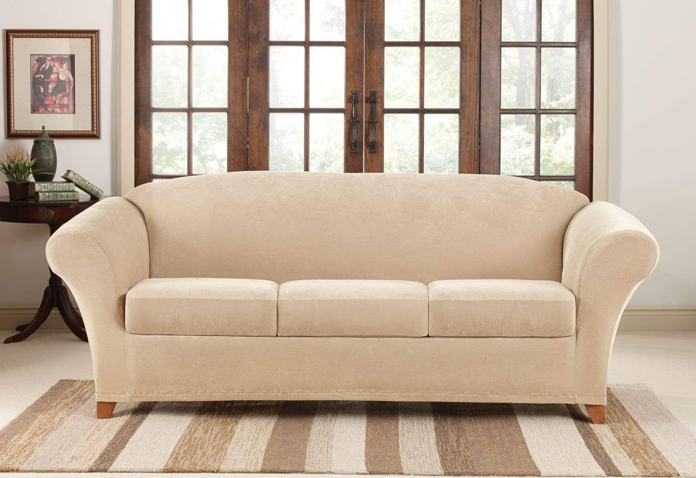 Stretch Pique Four Piece Sofa Slipcover