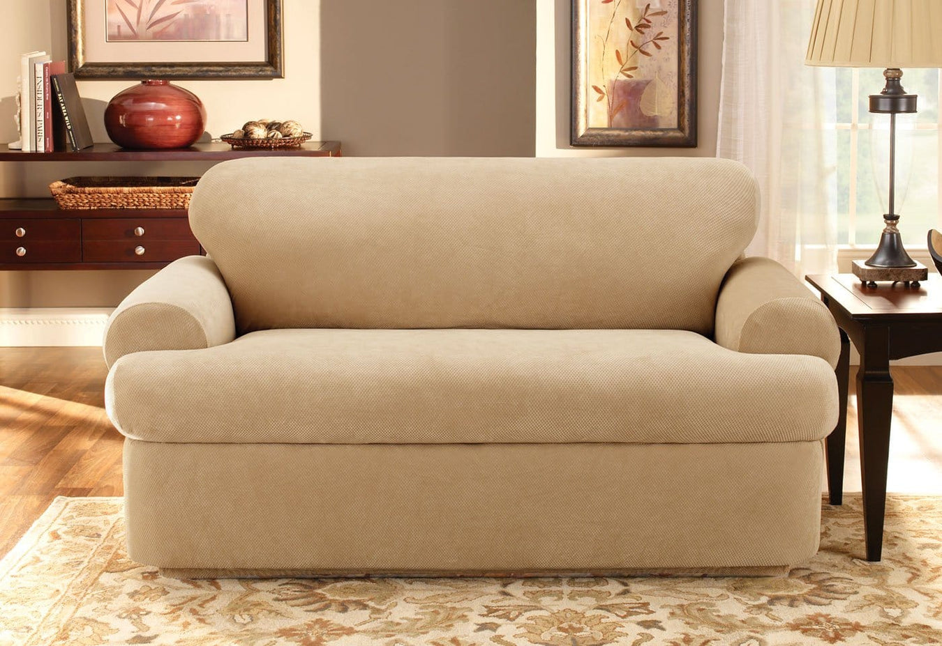 NEW Stretch Piqué 3 Piece With Back Cushion T Loveseat Slipcover Taupe pique