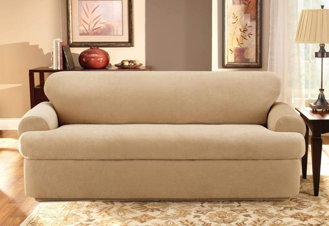 New Slipcover Stretch Sofa Cover Sofa With Loveseat Chair: Stretch Pique Three Piece With Back Cushion Sofa Slipcover