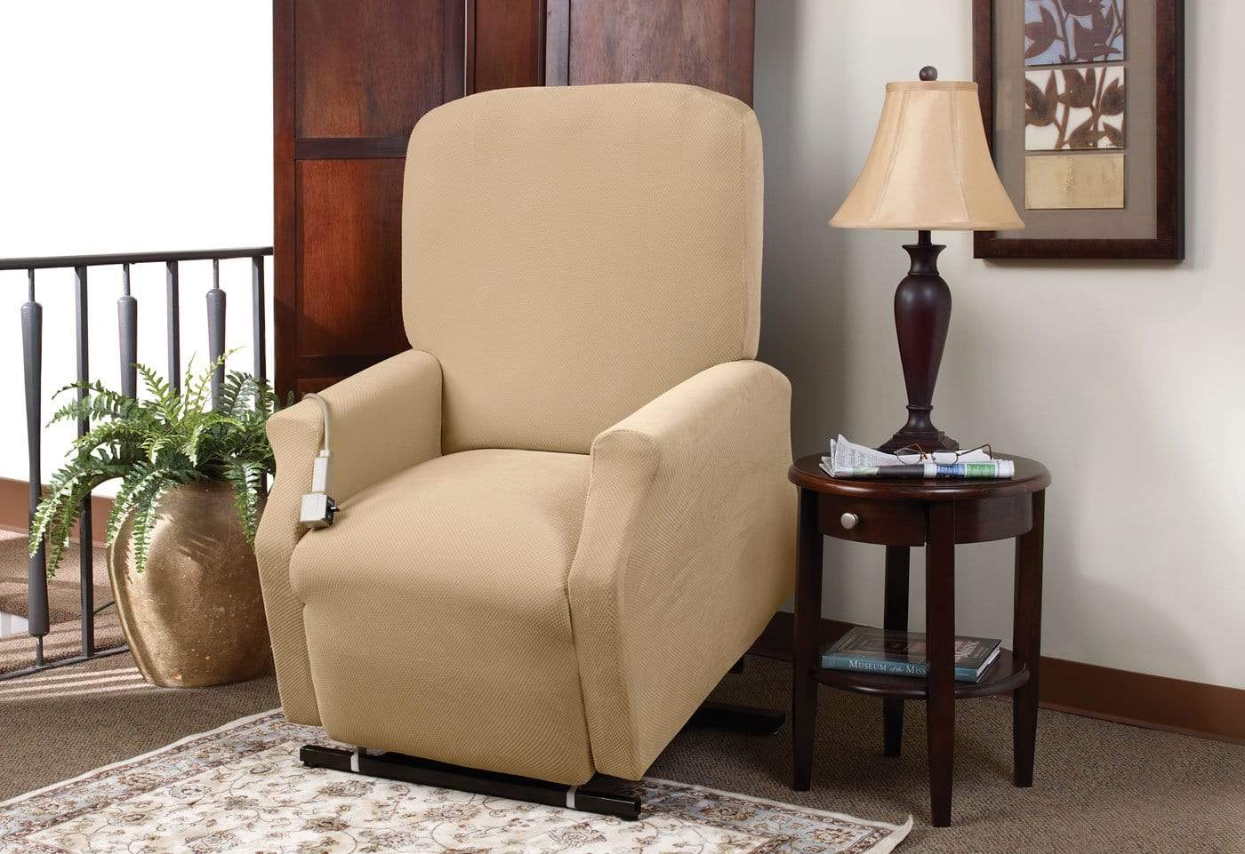 Stretch Piqué One Piece Medium Lift Recliner Slipcover - Final Sale - Medium Lift Recliner / Cream
