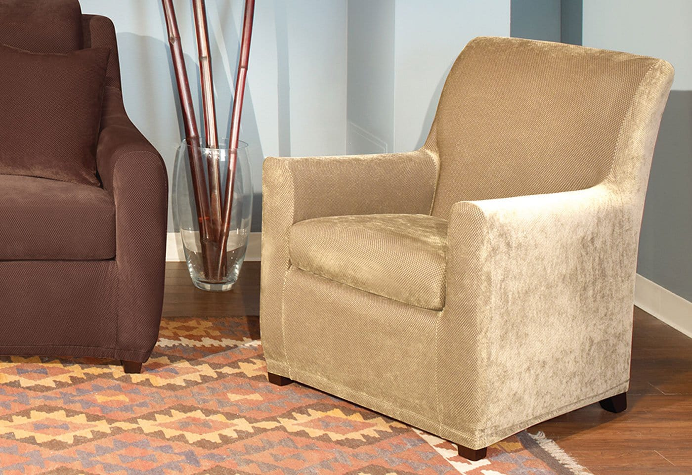 Stretch Pique Two Piece Petite Chair Slipcover