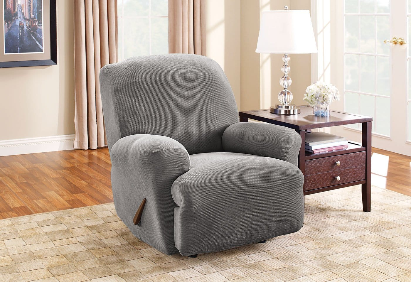 Stretch Piqué One Piece Recliner Slipcover Form Fit Machine Washable - Recliner / Flannel Gray