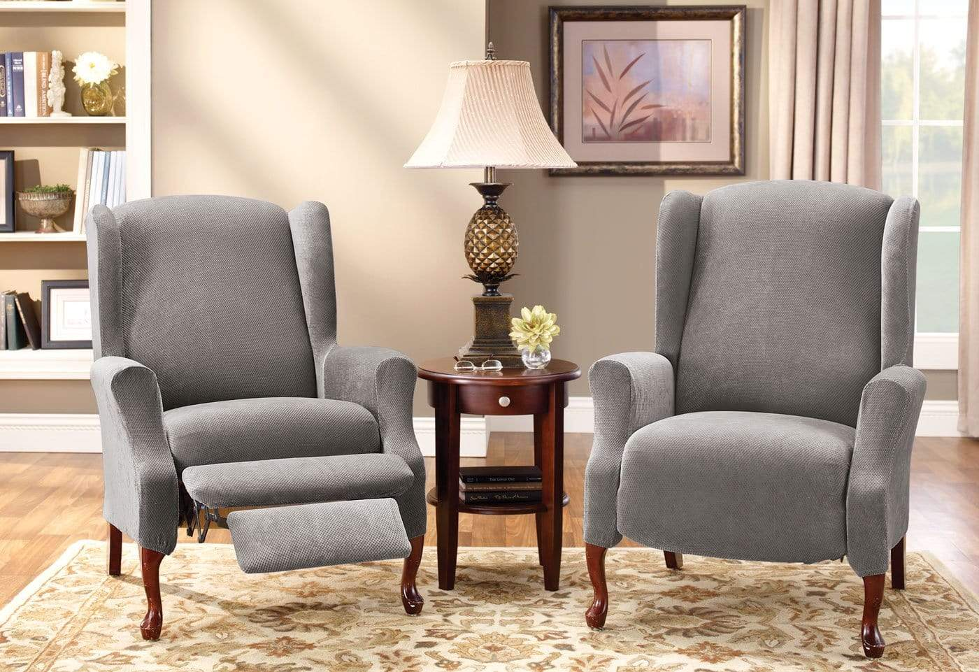 Stretch Pique Two Piece Wing Recliner Slipcover Surefit