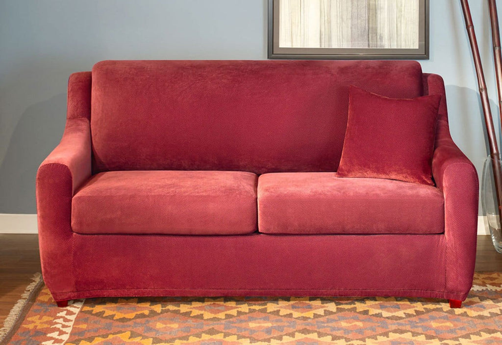 New Slipcover Stretch Sofa Cover Sofa With Loveseat Chair: Stretch Pique Three Piece Full-Size Sleeper Sofa Slipcover