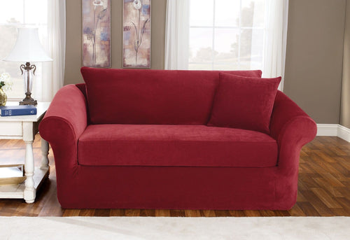 Stretch Pique Three Piece With Back Cushion Loveseat Slipcover