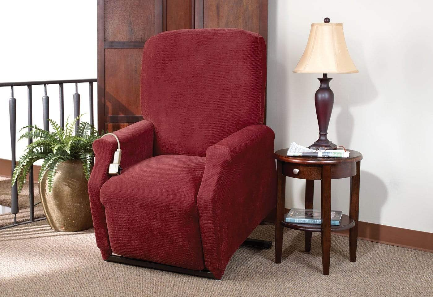 Stretch Piqué One Piece Medium Lift Recliner Slipcover - Final Sale - Medium Lift Recliner / Garnet