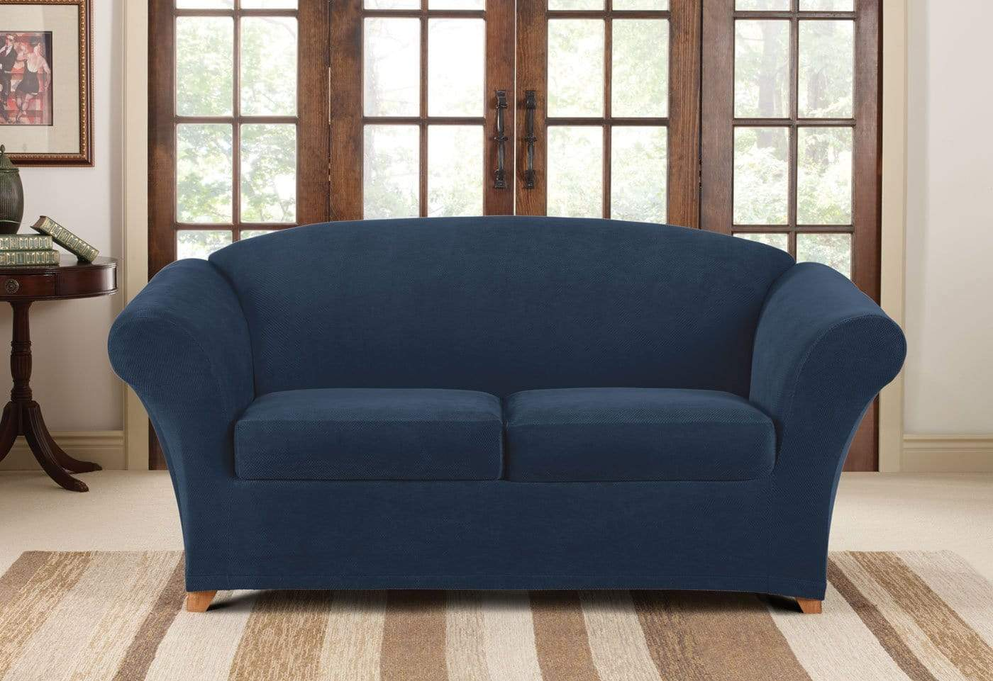 Stretch Pique Three Piece Loveseat Slipcover – SureFit
