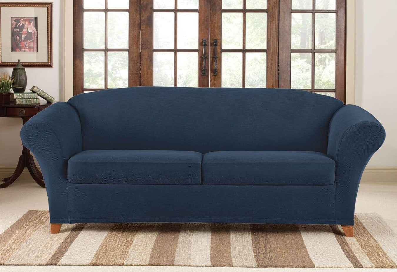 NEW Stretch Pique  t cushion Sofa size Slipcover Navy blue sure fit