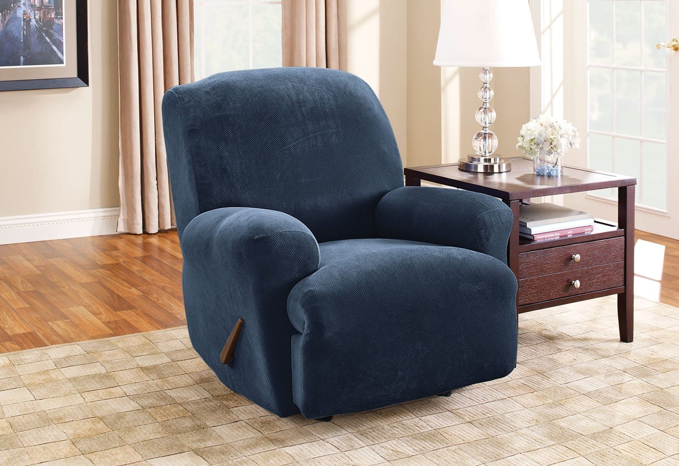 Stretch Piqué One Piece Recliner Slipcover Form Fit Machine Washable - Recliner / Navy