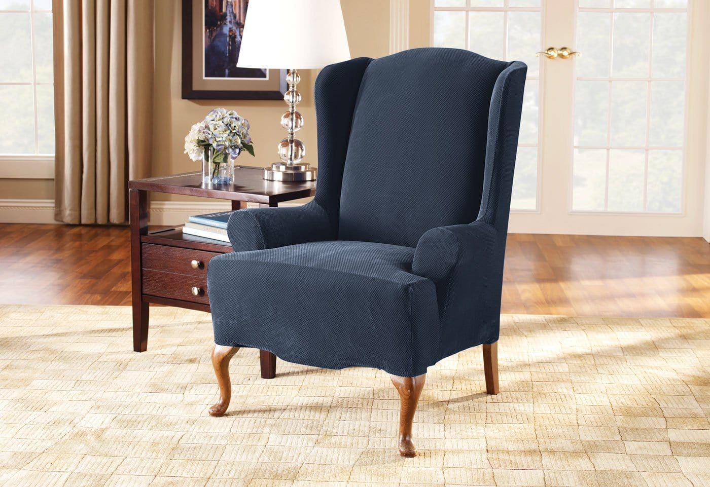 ... Stretch Pique One Piece Wing Chair Slipcover ...