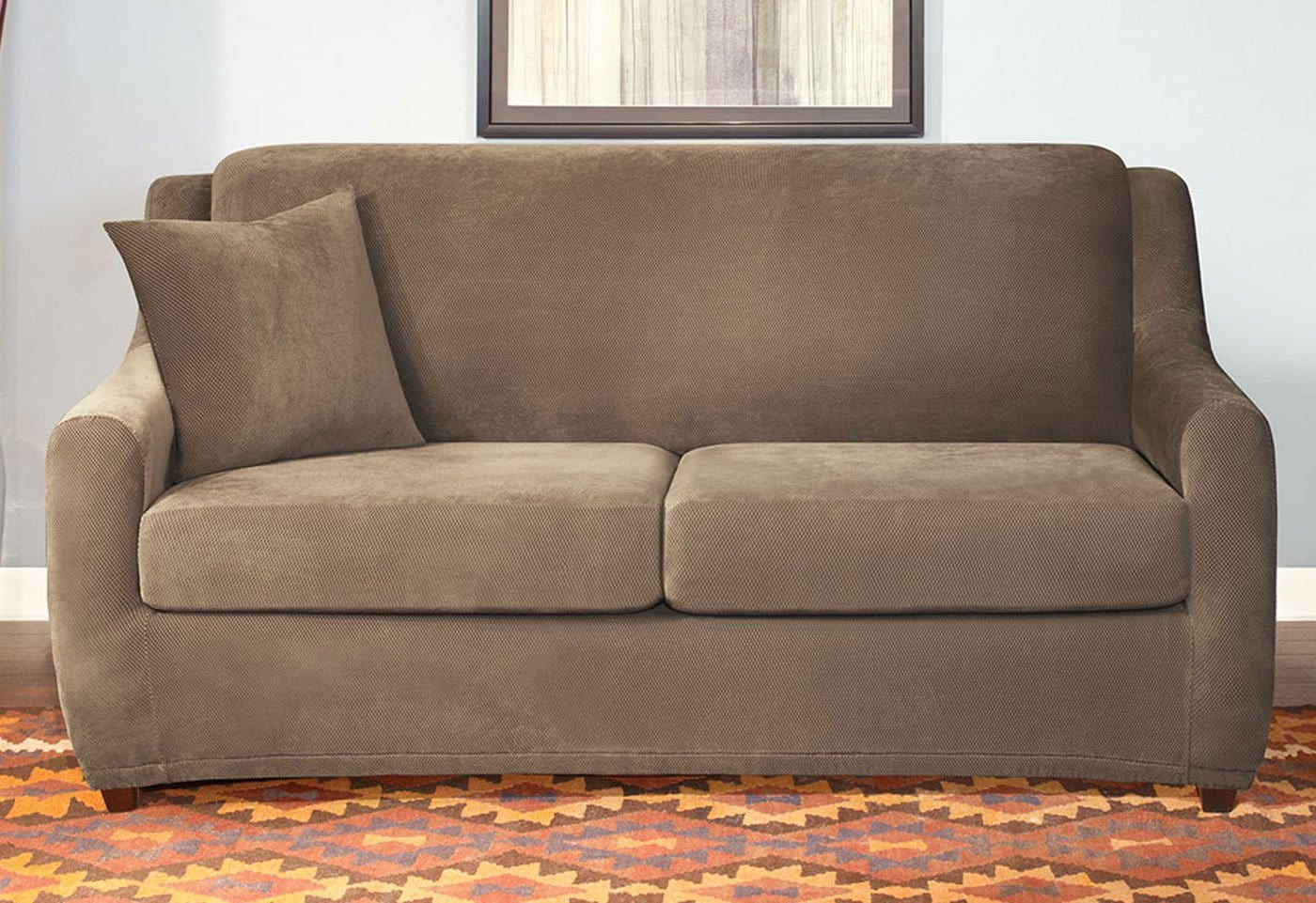 Stretch Pique Three Piece Full Size Sleeper Sofa Slipcover