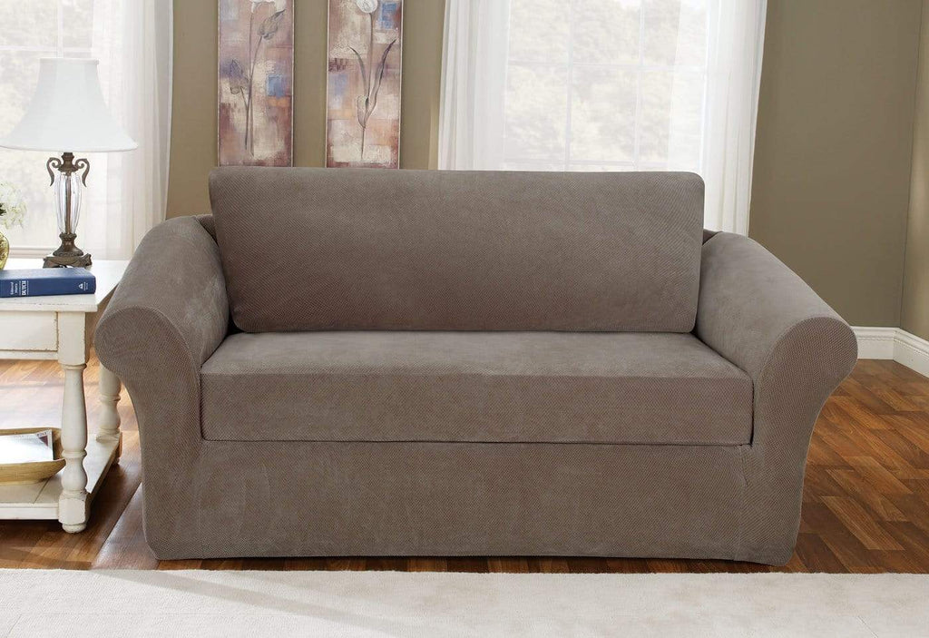 Stretch Pique Three Piece With Back Cushion Sofa Slipcover