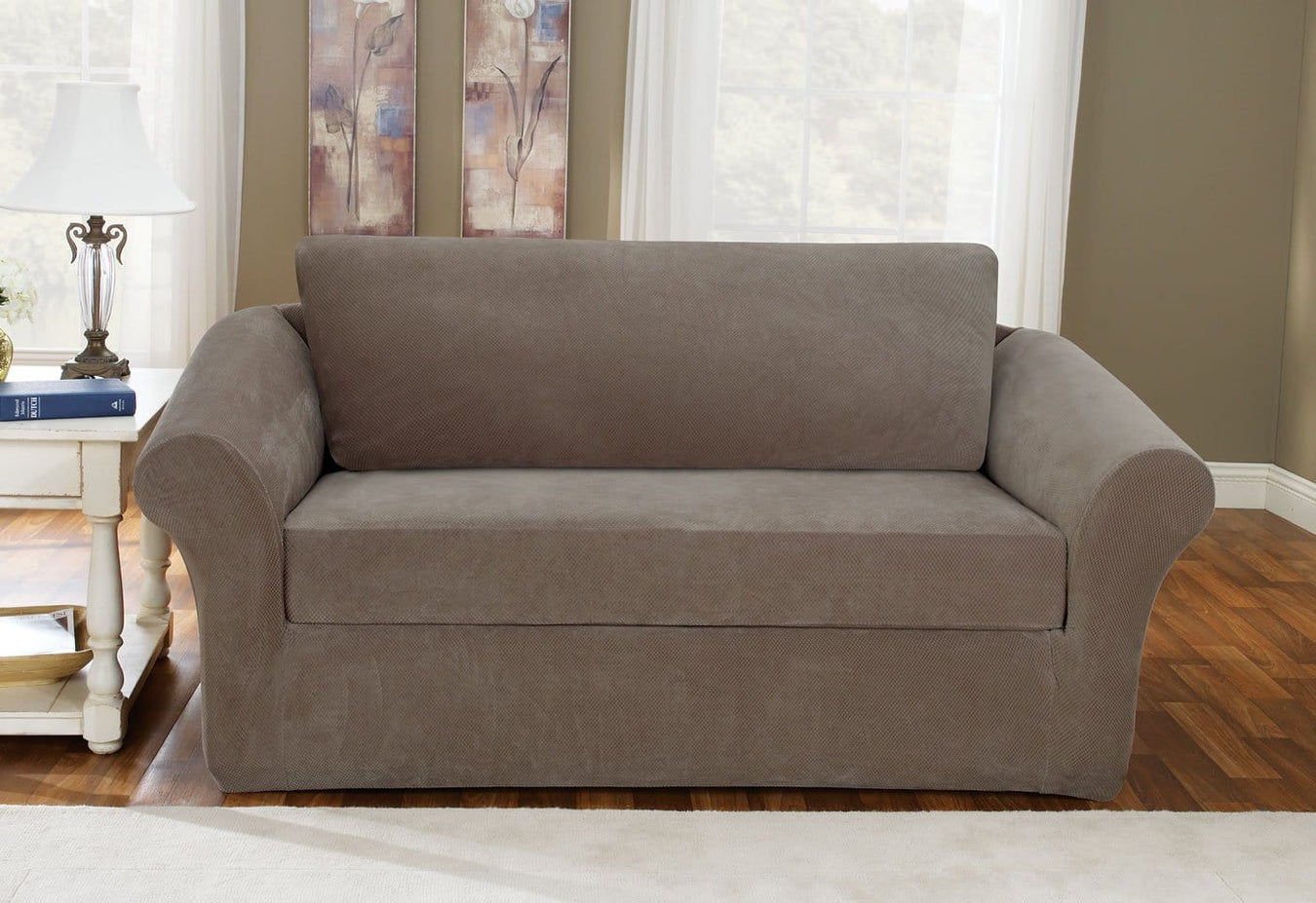 Stretch Pique Three Piece With Back Cushion Loveseat