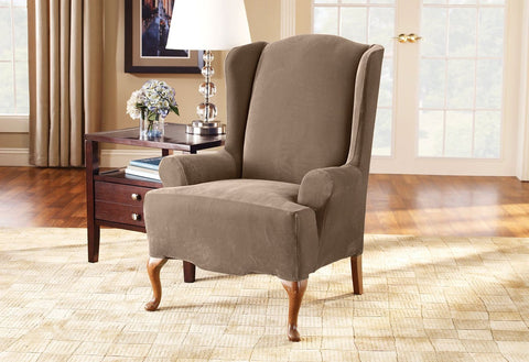 Stretch Pique One Piece Wing Chair Slipcover