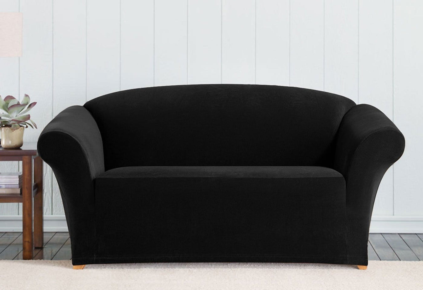 Stretch Mid-Weight Corduroy One Piece Loveseat Slipcover
