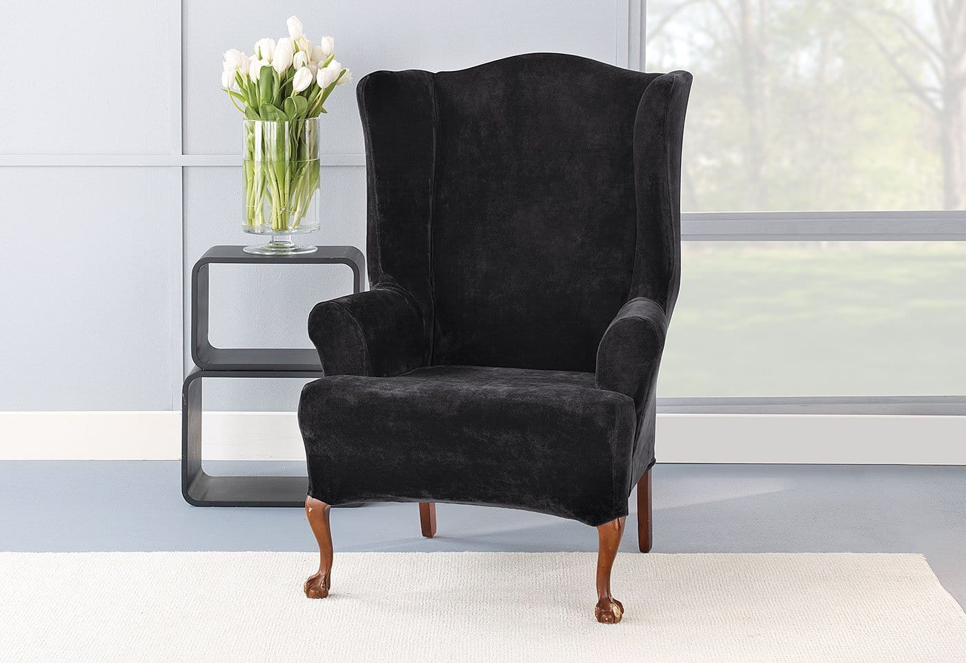 ... Stretch Plush One Piece Wing Chair Slipcover ...