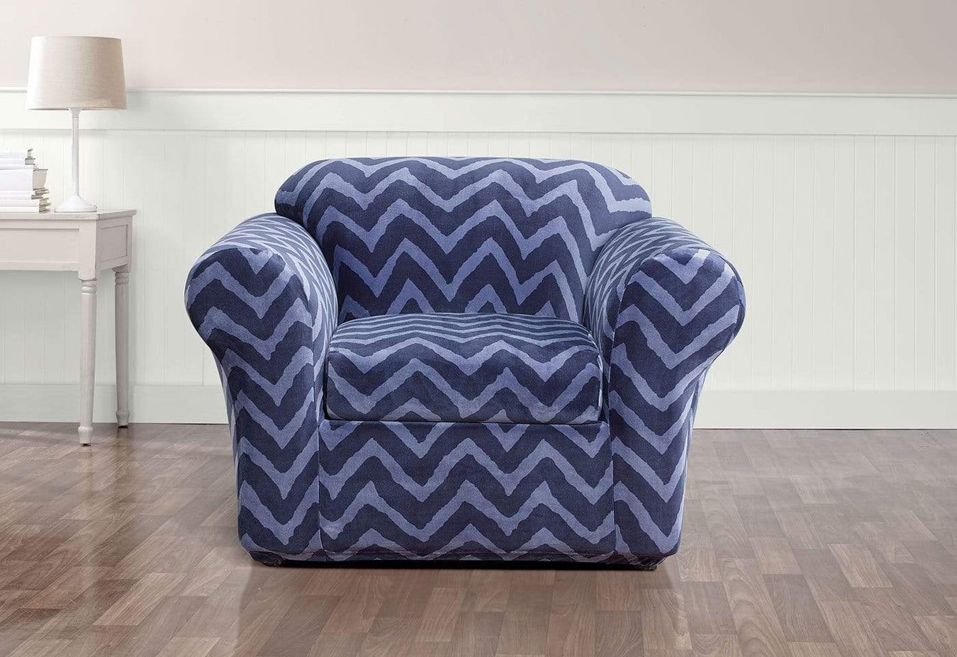Stretch Plush Chevron Separate Seat Chair Cover