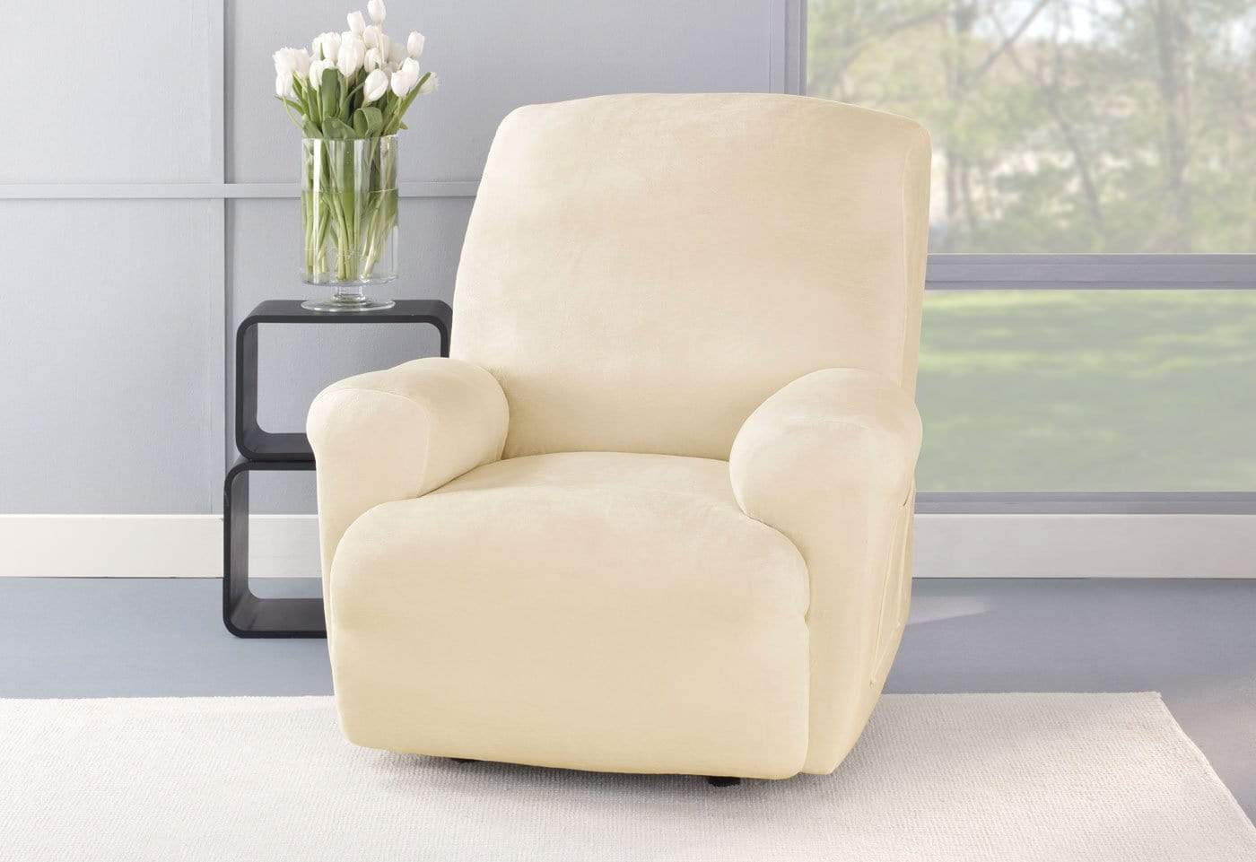 Stretch Plush One Piece Recliner Slipcover - Recliner / Cream