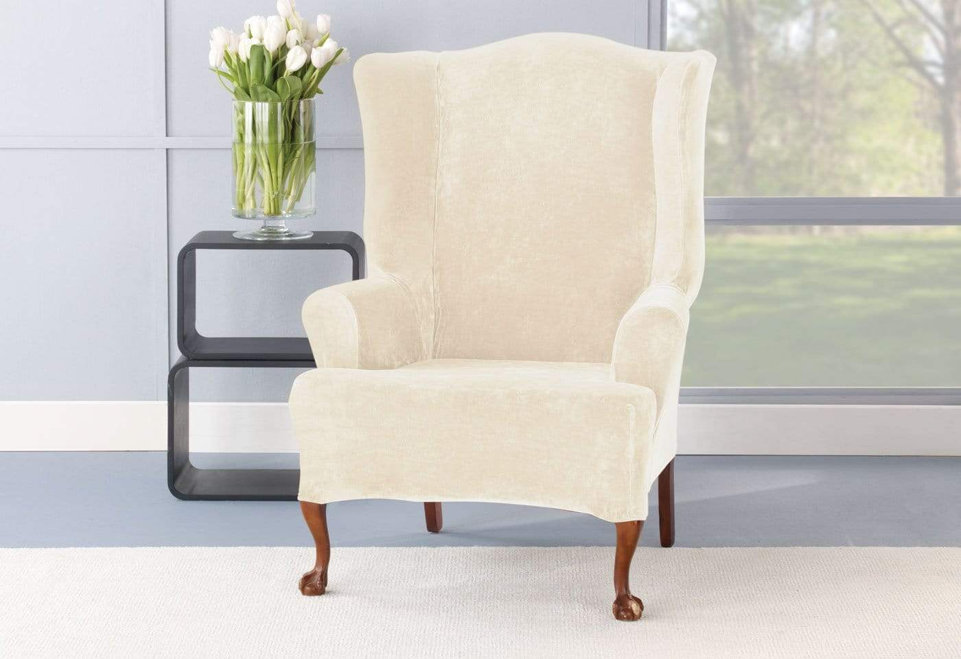 Stretch Plush One Piece Wing Chair Slipcover