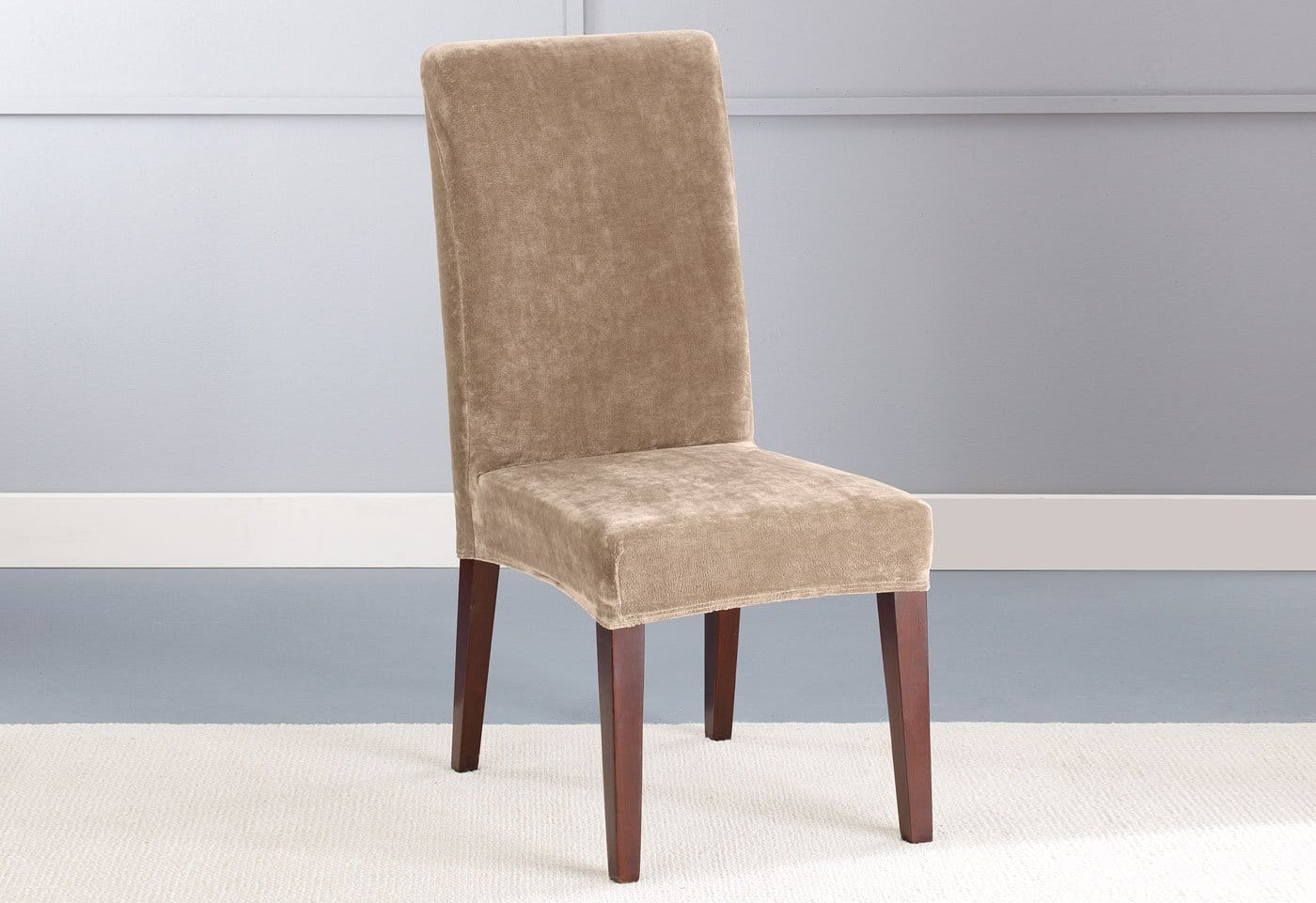 ... Stretch Plush Short Dining Chair Slipcover ...