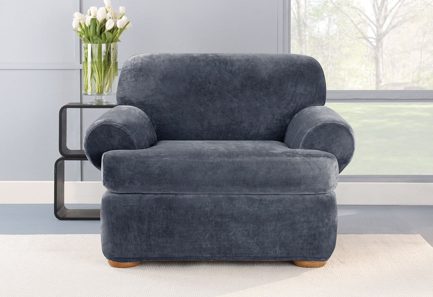 Stretch Plush Two Piece Chair Slipcover Surefit