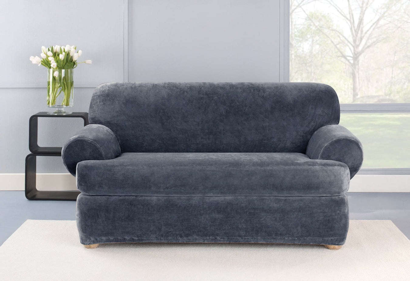 Stretch Plush Two Piece Loveseat Slipcover