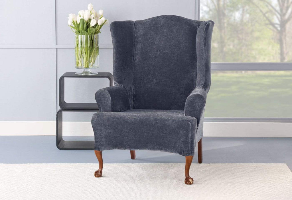 Stretch Plush One Piece Wing Chair Slipcover Surefit