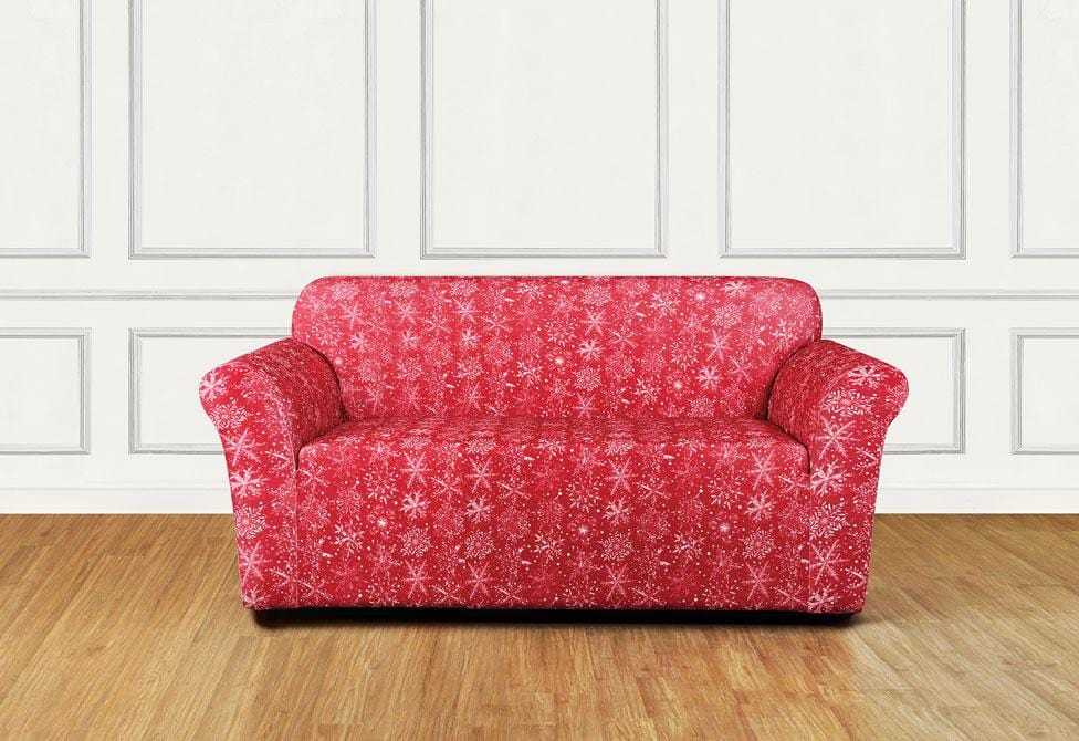 Stretch Snowflake One Piece Loveseat Slipcover