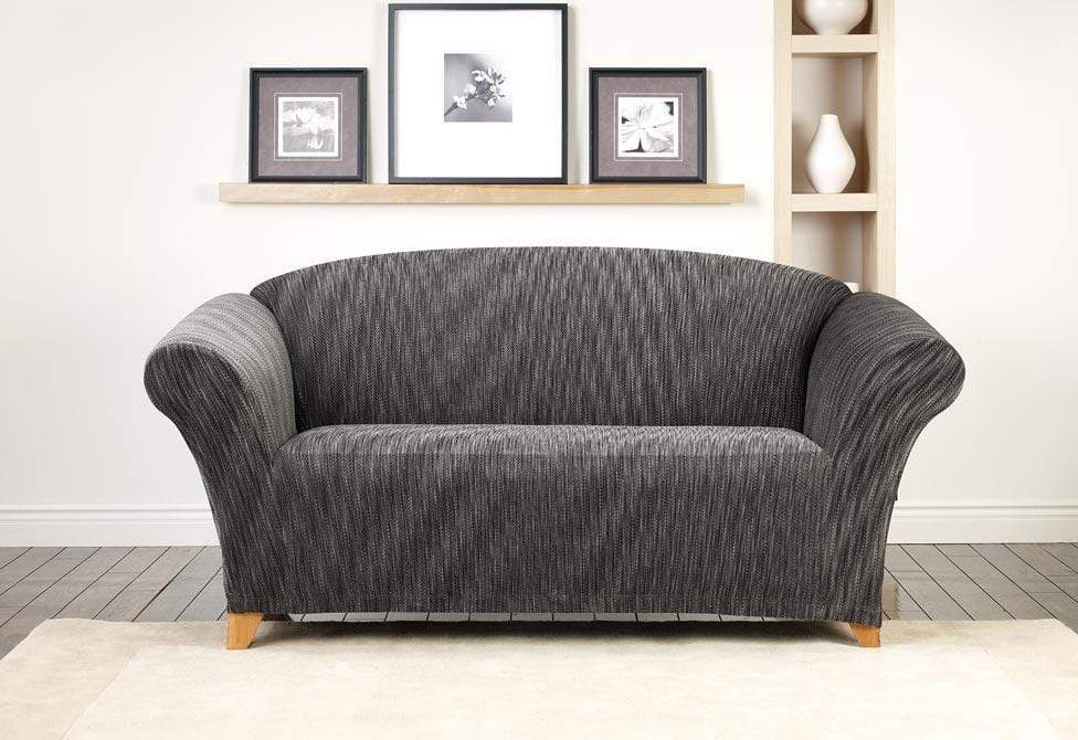 Stretch Space Dye One Piece Loveseat Slipcover