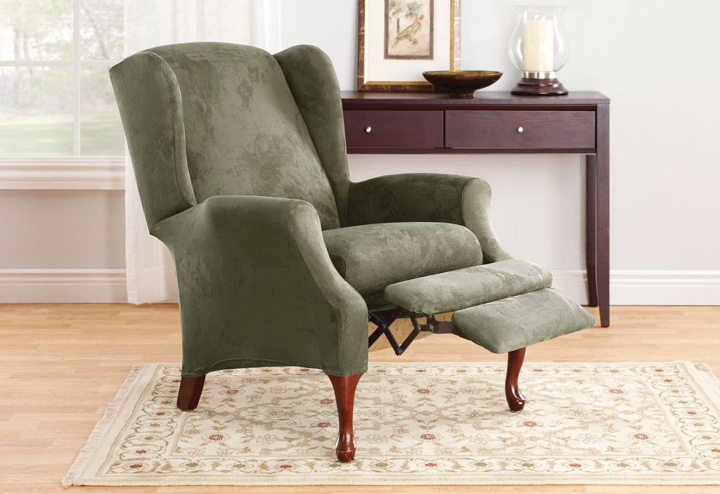 Stretch Suede Two Piece Wing Recliner Slipcover Surefit