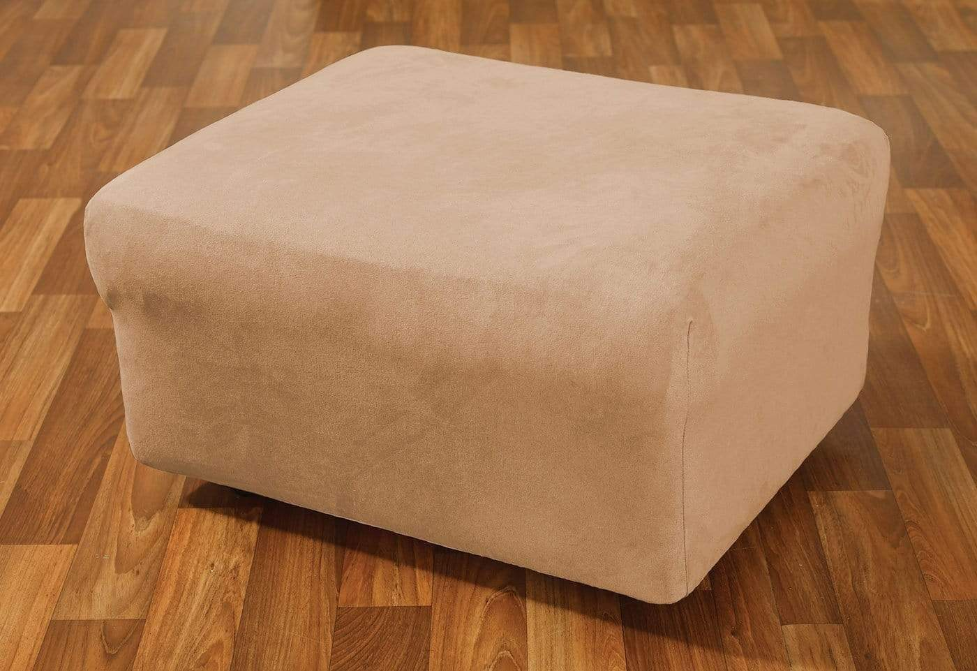 Stretch Suede One Piece Ottoman Slipcover