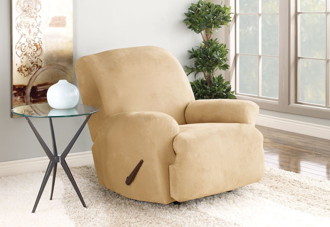 Stretch Suede One Piece Recliner Slipcover Machine Washable - Recliner / Camel