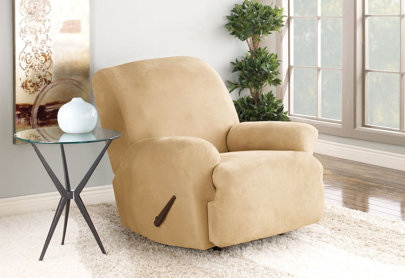 Stretch Suede One Piece Recliner Slipcover | Machine Washable